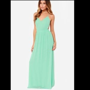 LULUS  Rooftop Garden Backless Mint Green Maxi
